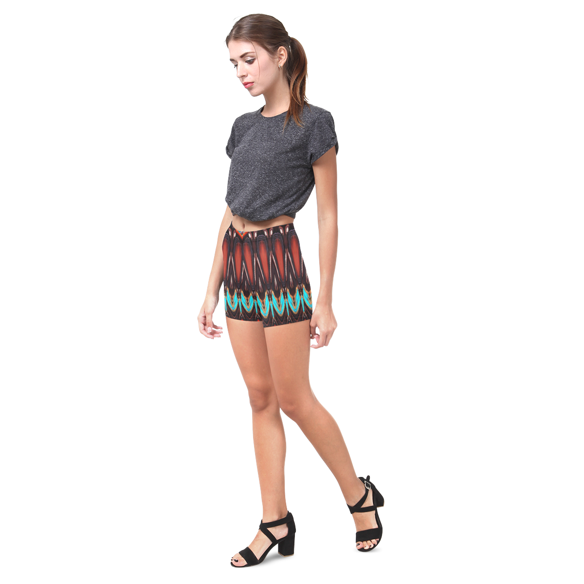 K172 Wood and Turquoise Abstract Briseis Skinny Shorts (Model L04)