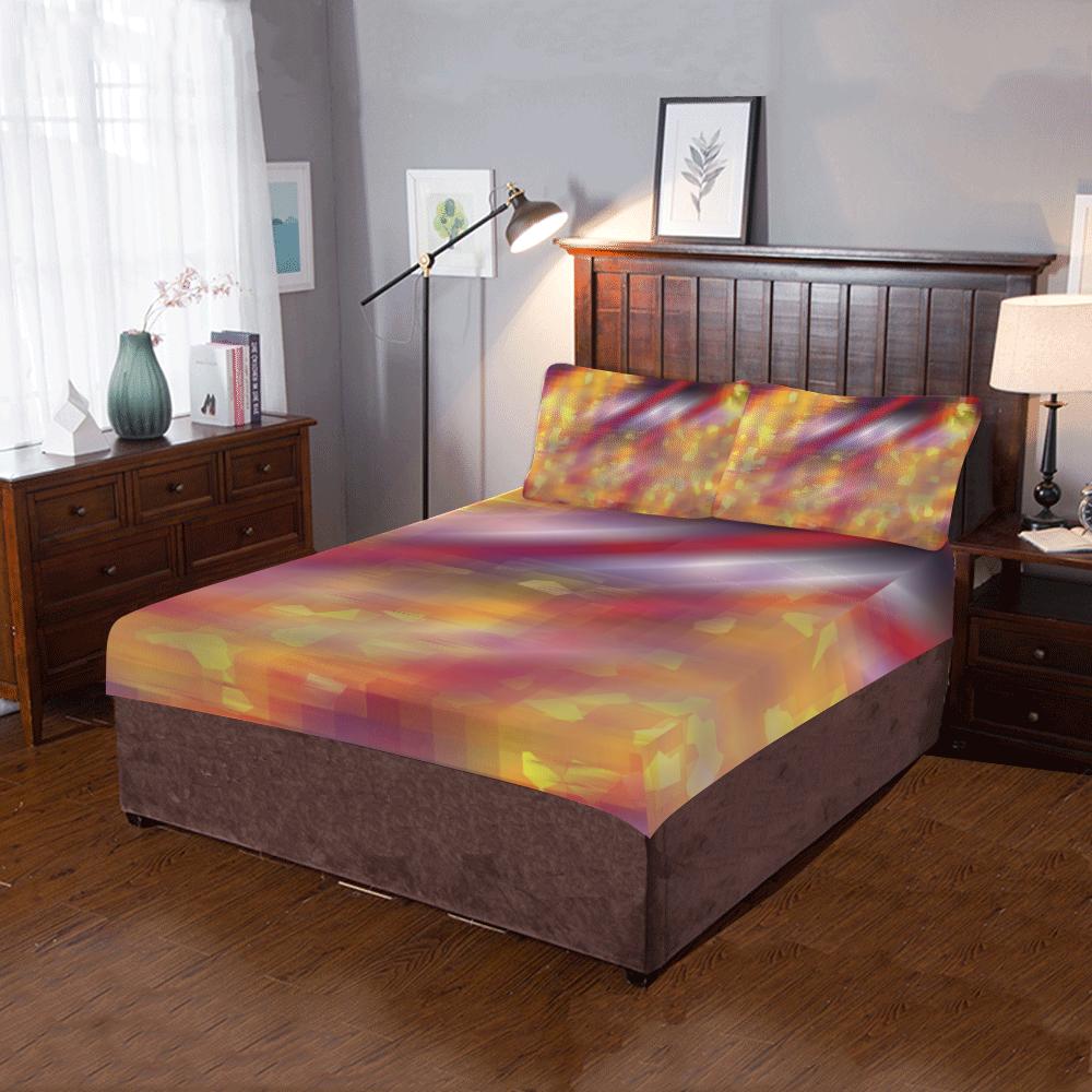 Yellow Spot Red Line 3-Piece Bedding Set