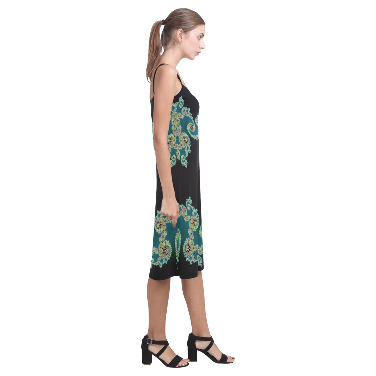 Aqua and Black  Hearts Lace Fractal Abstract Alcestis Slip Dress (Model D05)
