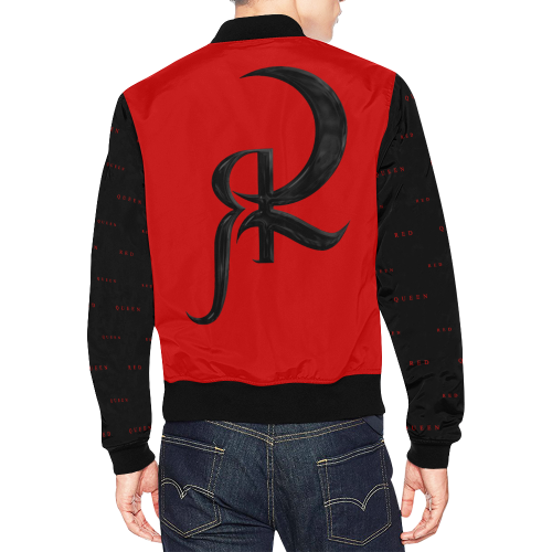 RED QUEEN SYMBOL RED LOGO BLACK SLEEVES ALL OVER RED All Over Print Bomber Jacket for Men (Model H19)