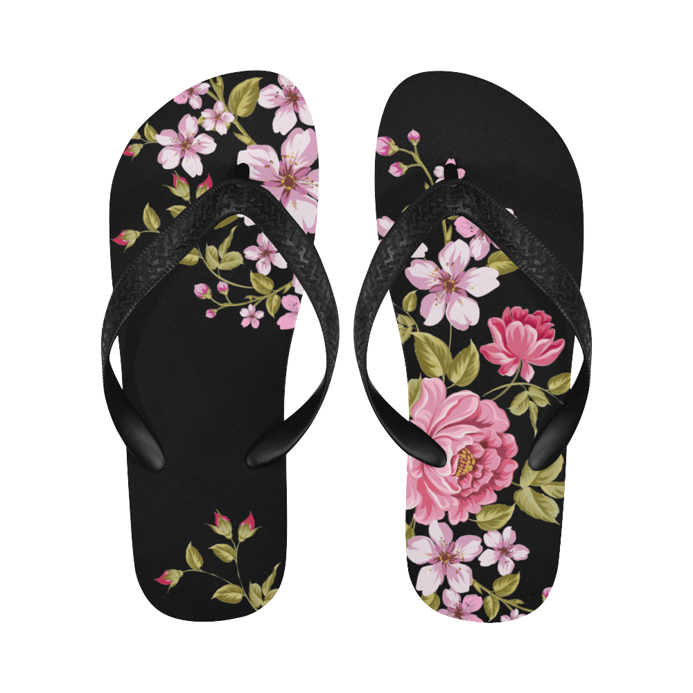 Pure Nature - Summer Of Pink Roses 1 Flip Flops for Men/Women (Model 040)