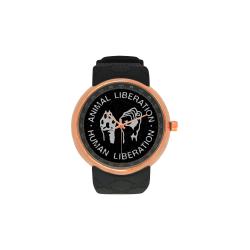Animal Liberation, Human Liberation Men's Rose Gold Resin Strap Watch(Model 308)