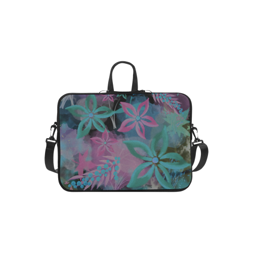 Flower Pattern - black, teal green, purple, pink Macbook Air 11''