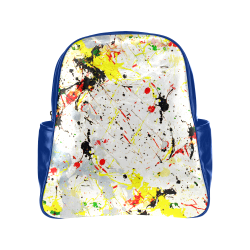 Yellow & Black Paint Splatter  (Blue) Multi-Pockets Backpack (Model 1636)