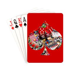 """Spade Playing Card Shape - Las Vegas Icons on Red Playing Cards 2.5""""x3.5"""""""