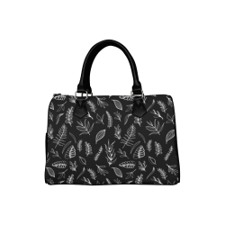 BLACK DANCING LEAVES Boston Handbag (Model 1621)