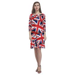 Union Jack British UK Flag Rhea Loose Round Neck Dress(Model D22)