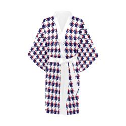 Red White Blue Houndstooth Kimono Robe