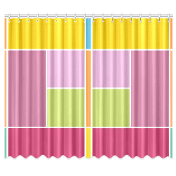 "Playful Springtime Geometric Blocks Window Curtain 50""x84""(Two Piece)"