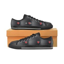 zapato de mujer negro con corazones Women's Classic Canvas Shoes (Model 018)