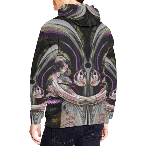 Purple Night Wear Crew Deep Unit All Over Print Hoodie (for Men)