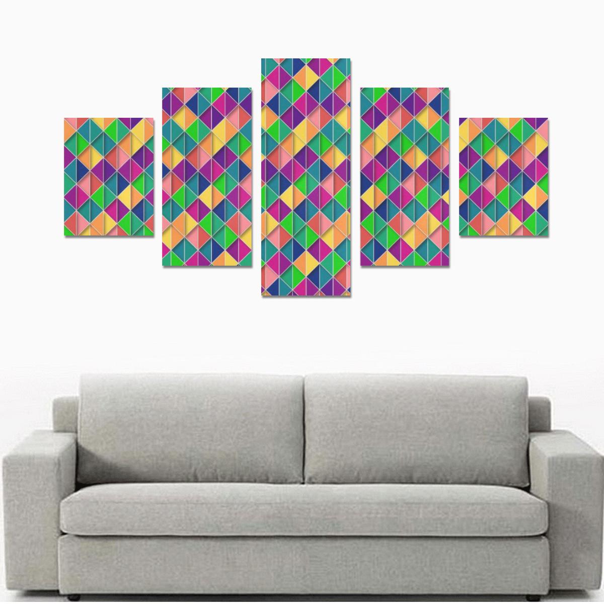 Geometric Abstract Triangle Canvas Print Sets B (No Frame)
