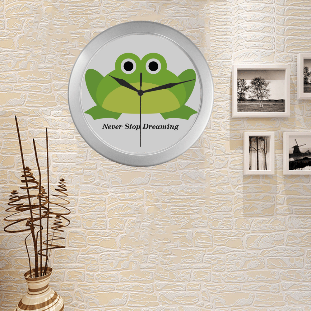 Never Stop Dreaming Frog Silver Color Wall Clock