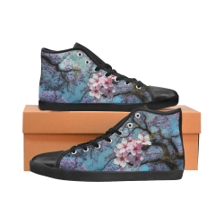 Cherry blossomL High Top Canvas Women's Shoes/Large Size (Model 002)