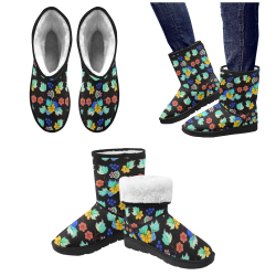 bright floral Custom High Top Unisex Snow Boots (Model 047)