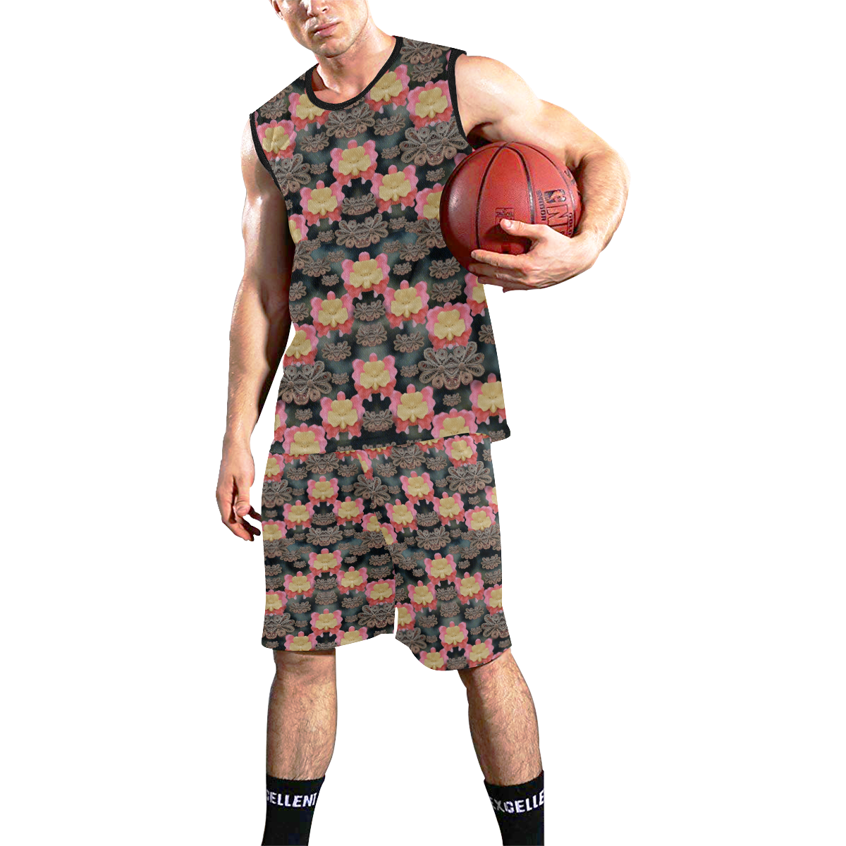 Heavy Metal meets power of the big flower All Over Print Basketball Uniform