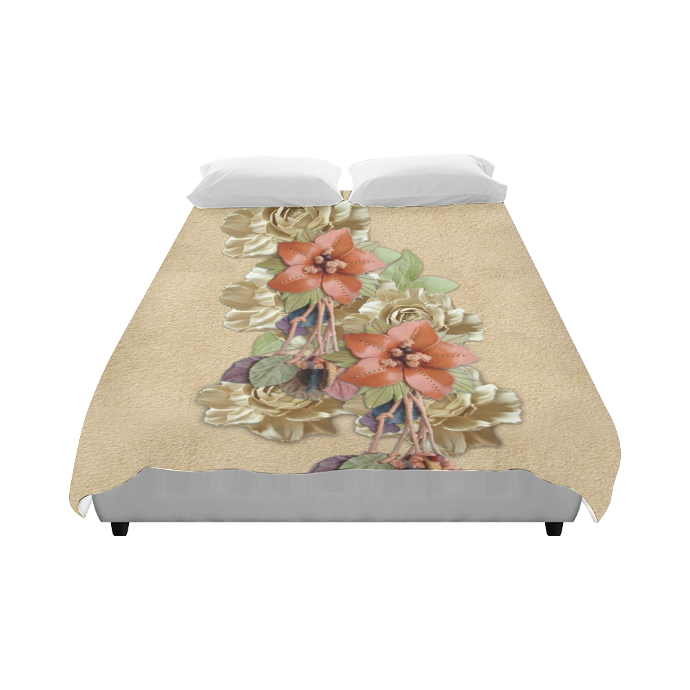 """leather flowers on suede Duvet Cover 86""""x70"""" ( All-over-print)"""
