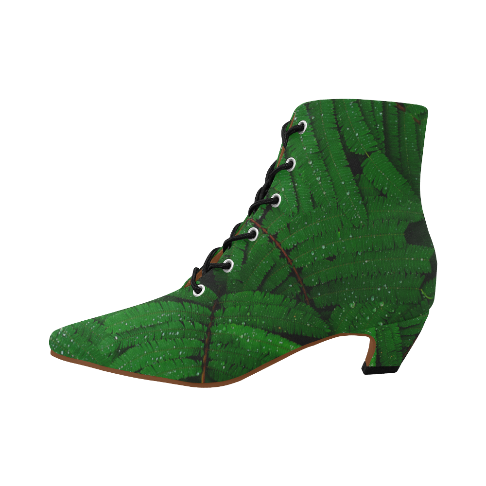 Forest Green Plants with Dew Photo Women's Pointed Toe Low Heel Booties (Model 052)