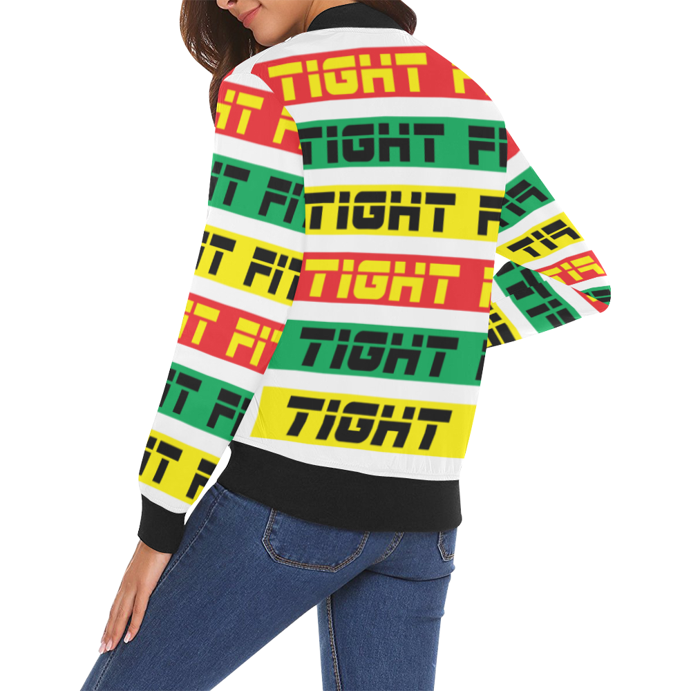TIGHT FIT Women Colour Bars 3 rgy All Over Print Bomber Jacket for Women (Model H19)