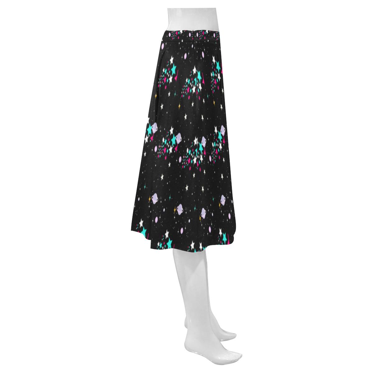 galaxy stars Mnemosyne Women's Crepe Skirt (Model D16)
