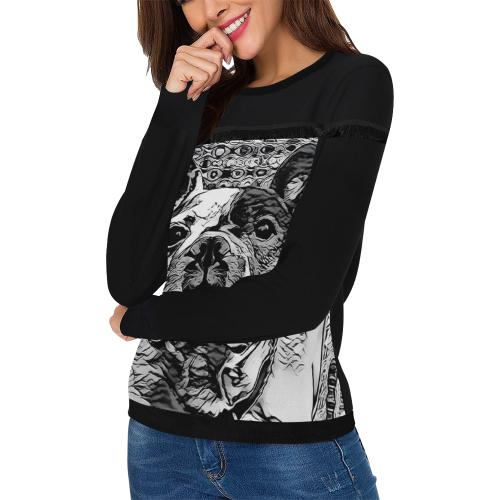 FRENCH BULLDOG LADYLIKE Women's Fringe Detail Sweatshirt (Model H28)
