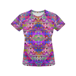 Rainbow Mayan Pattern All Over Print T-Shirt for Women (USA Size) (Model T40)