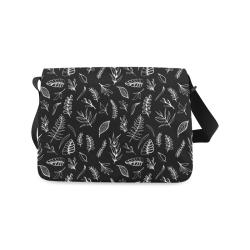 BLACK DANCING LEAVES Messenger Bag (Model 1628)