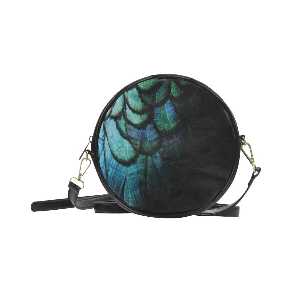 blue feathered peacock bird Round Sling Bag (Model 1647)