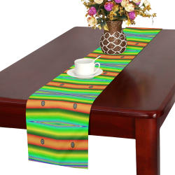Bright Green Orange Stripes Pattern Abstract Table Runner 16x72 inch