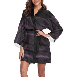 Royal Purple Satin Long Sleeve Kimono Robe