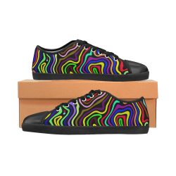 Multicolored Wavy Line Pattern Canvas Kid's Shoes (Model 016)