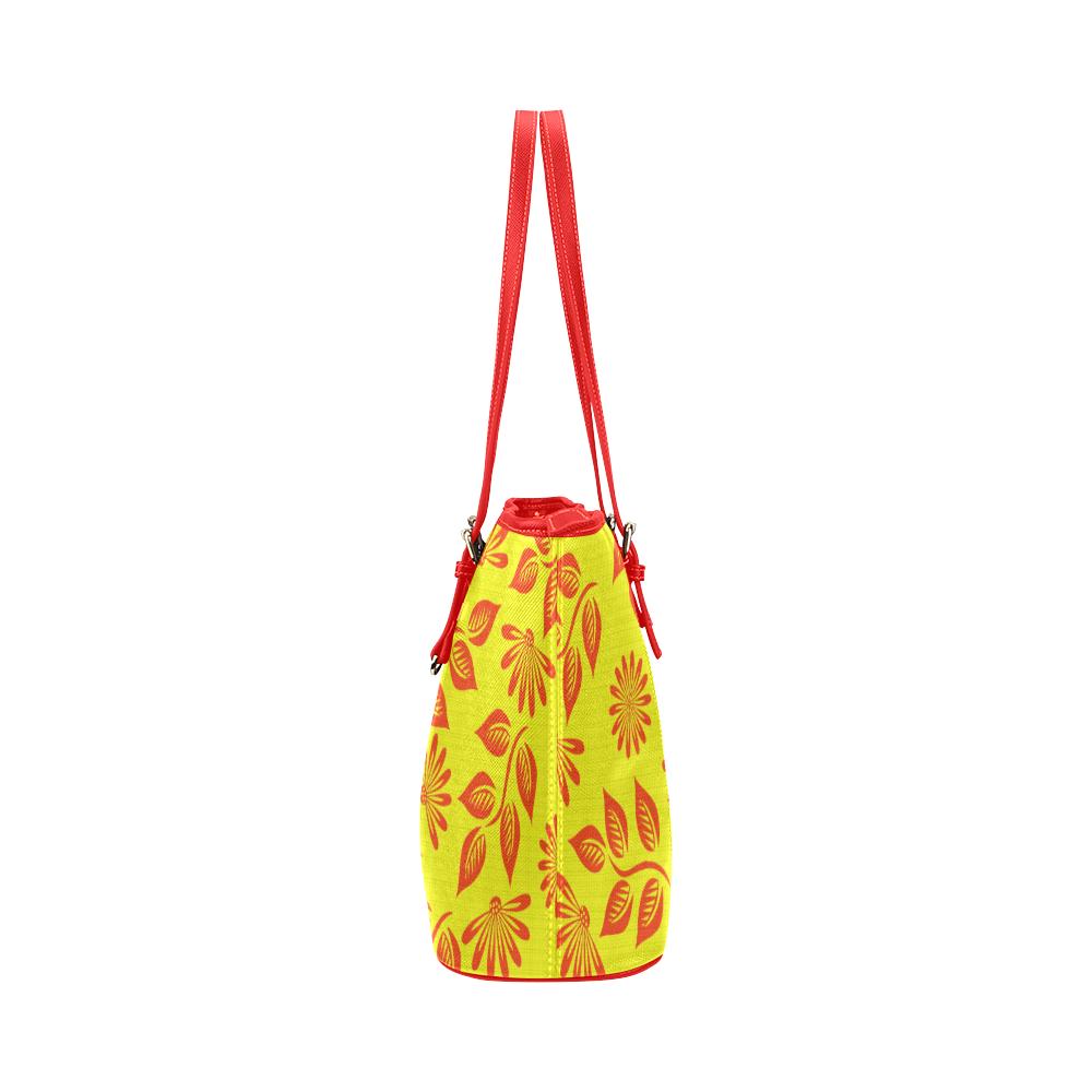 FLORAL DESIGN 2 Leather Tote Bag/Large (Model 1651)