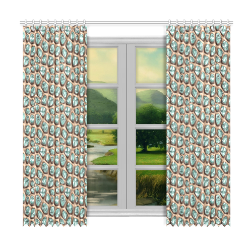 """Green crystals Window Curtain 50""""x96""""(Two Piece)"""