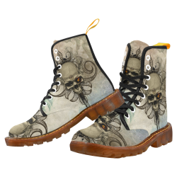 Creepy skull, vintage background Martin Boots For Women Model 1203H