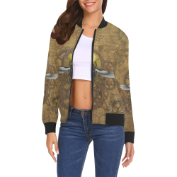 Ancient Egypt Steampunk All Over Print Bomber Jacket for Women (Model H19)