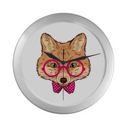 Nerdy fox silver rim clock Silver Color Wall Clock