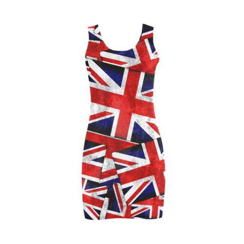 Union Jack British UK Flag Medea Vest Dress (Model D06)