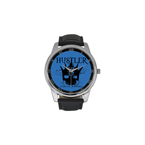 HUSTLER LOAH BLUE Men's Leather Strap Large Dial Watch(Model 213)
