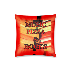 """Music, Pizza and Books Custom Pillow Case 16""""x16""""  (One Side Printing) No Zipper"""