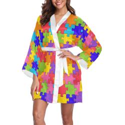 Multicolored Jigsaw Puzzle Long Sleeve Kimono Robe