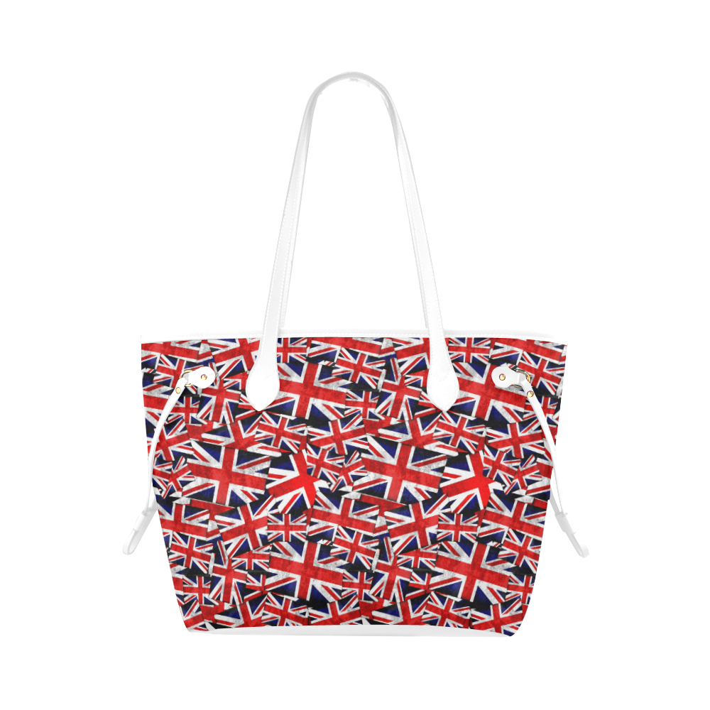 Union Jack British UK Flag - White Clover Canvas Tote Bag (Model 1661)
