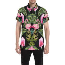 camisa de hombre flamenco fondo negro Men's All Over Print Short Sleeve Shirt (Model T53)