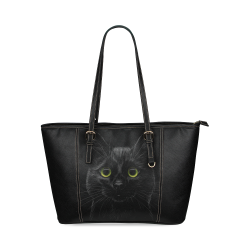 Black Cat Leather Tote Bag/Small (Model 1640)