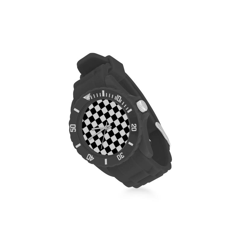 Black White Checkers Sport Rubber Strap Watch(Model 301)