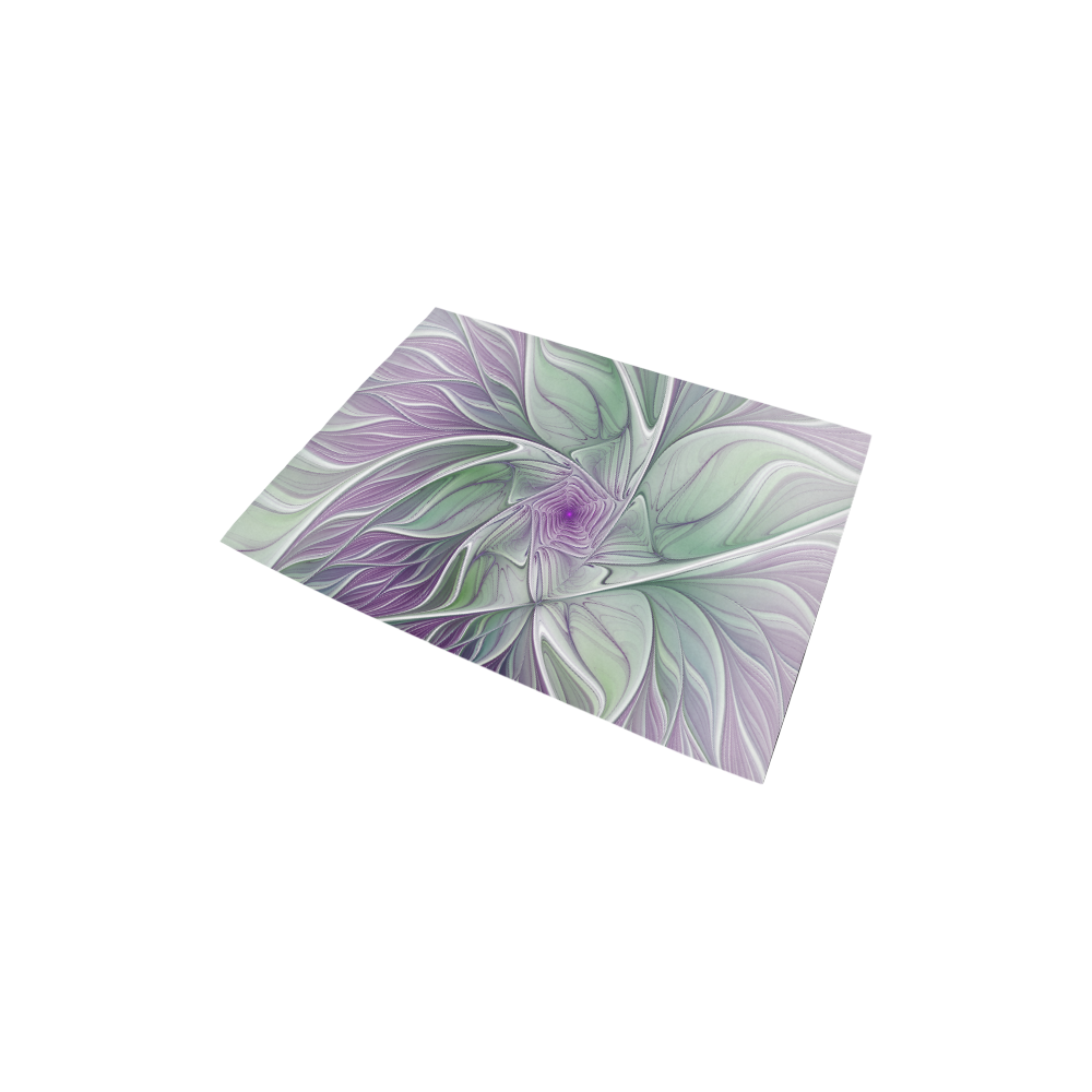 """Flower Dream Abstract Purple Sea Green Floral Fractal Art Area Rug 2'7""""x 1'8''"""
