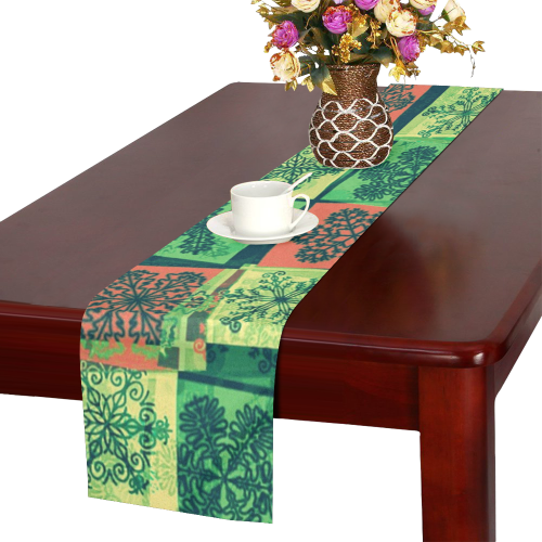 abstract snowflake squares Table Runner 16x72 inch