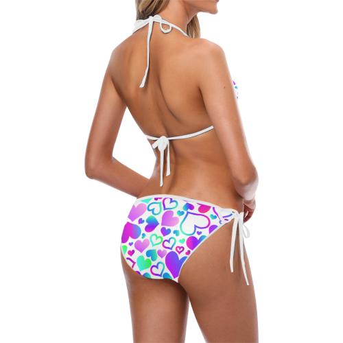 Corazones-multicolores Custom Bikini Swimsuit (Model S01)
