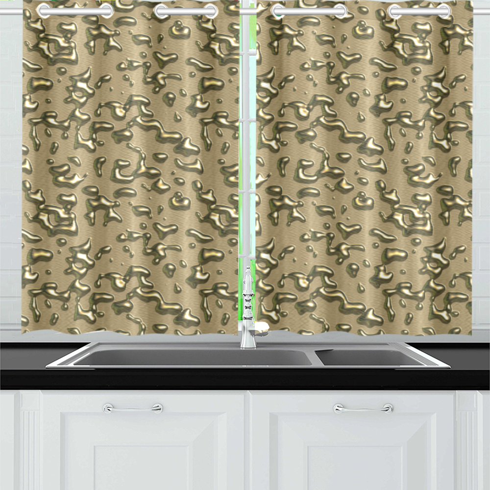 golden drops Kitchen Curtain 26'' X 39''(2 Pieces, 1 Design)