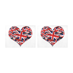 Union Jack British UK Flag Heart White Placemat 14'' x 19'' (Two Pieces)