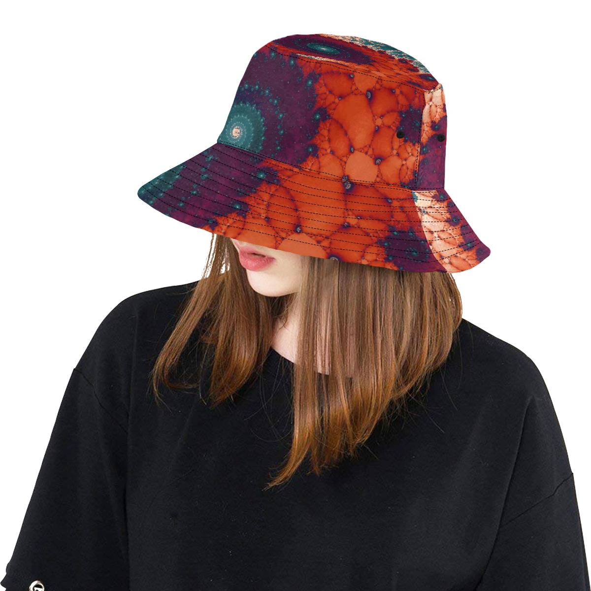 Rose Bud Glass Flower Spiral All Over Print Bucket Hat